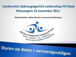 Conferentie Opbrengstgericht Leiderschap  PO-Raad Nieuwegein 16 november 2011