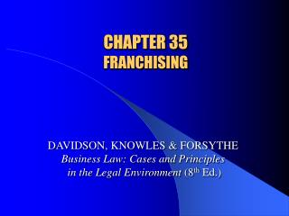 CHAPTER 35  FRANCHISING
