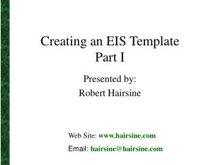 Creating an EIS Template Part I