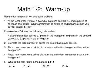 Math 1-2:  Warm-up