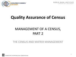 MANAGEMENT OF A CENSUS,  PART 2