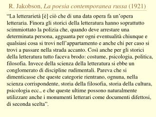 R. Jakobson,  La poesia contemporanea russa  (1921)