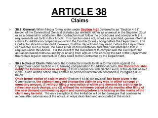 ARTICLE 38  Claims