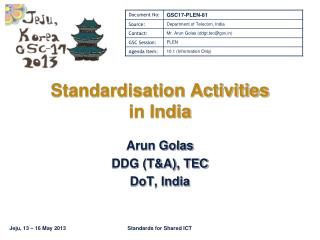 Standardisation Activities in India