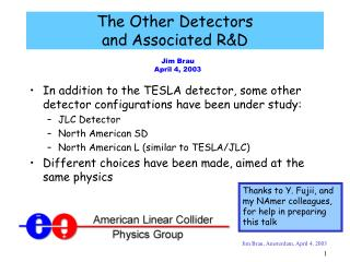 The Other Detectors and Associated R&D