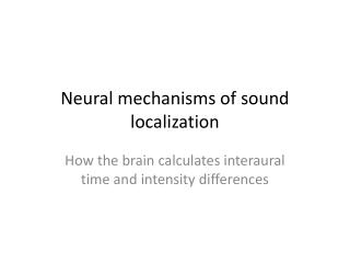 Neural mechanisms of sound localization