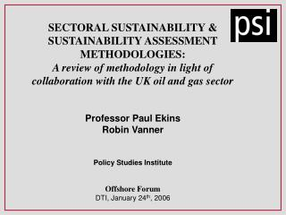 SECTORAL SUSTAINABILITY & SUSTAINABILITY ASSESSMENT METHODOLOGIES: