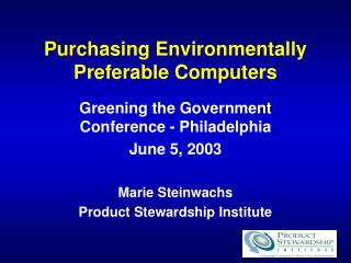 Purchasing Environmentally Preferable Computers