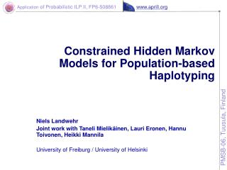 Constrained Hidden Markov Models for Population-based Haplotyping