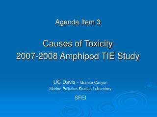 Agenda Item 3 Causes of Toxicity  2007-2008 Amphipod TIE Study
