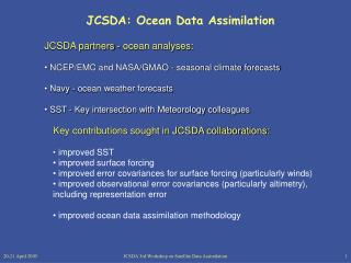 JCSDA: Ocean Data Assimilation