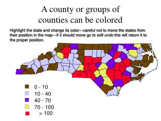 A county or groups of  counties can be colored