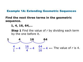 Example 1A: Extending Geometric Sequences