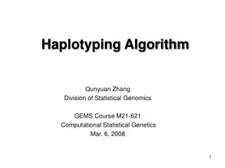 Haplotyping Algorithm