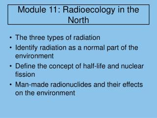 Module 11: Radioecology in the North