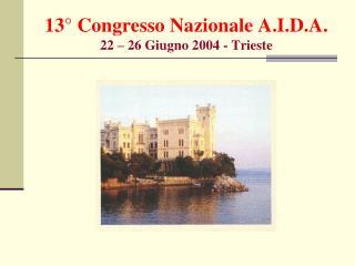 13� Congresso Nazionale A.I.D.A. 22 � 26 Giugno 2004 - Trieste