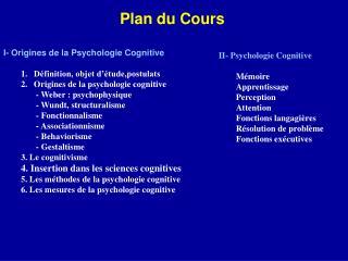 Plan du Cours