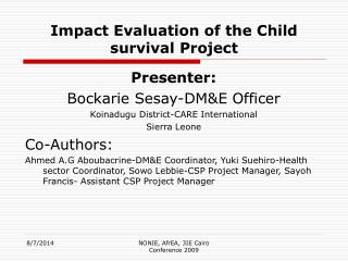 Impact Evaluation of the Child survival Project