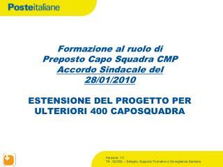 Formazione Capo Squadra CMP – Estensione numerica