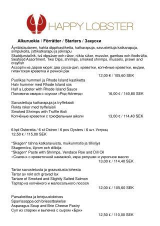 Alkuruokia / F ö rr ä tter / Starters /  Закуски
