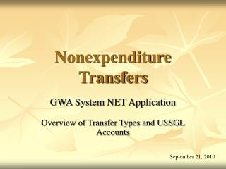 Nonexpenditure Transfers
