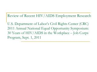 Sample Reflects Diversity of HIV/AIDS