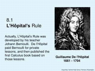 Guillaume De l'Hôpital 1661 - 1704
