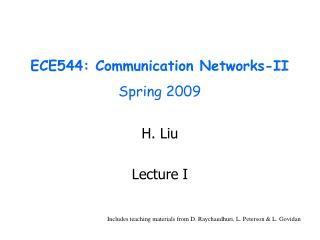 ECE544: Communication Networks-II  Spring 2009