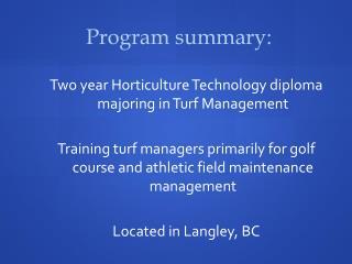 Program summary: