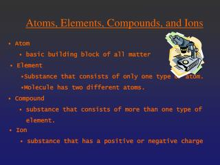 Atoms, Elements, Compounds, and Ions