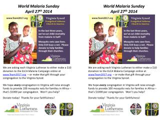 World Malaria Sunday April 27 th  2014
