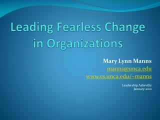 Leading Fearless Change in Organizations