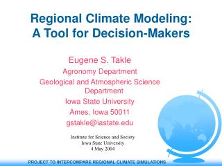 Regional Climate Modeling: A Tool for Decision-Makers