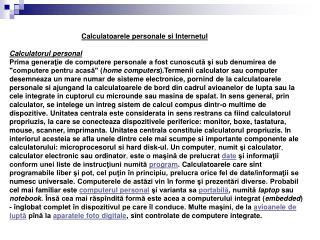 Calculatoarele personale si Internetul Calculatorul personal