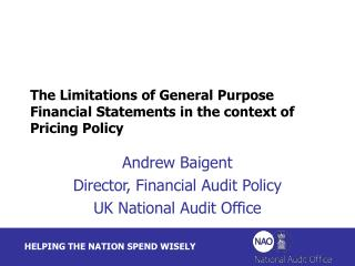 The Limitations of General Purpose Financial Statements in the context of Pricing Policy