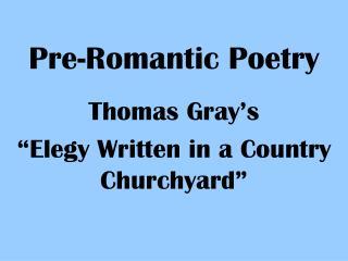 Pre-Romantic Poetry