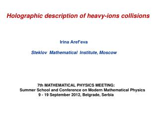 Holographic description of heavy-ions collisions