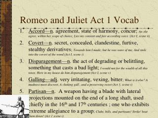 Romeo and Juliet Act 1  Vocab