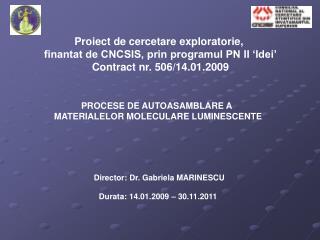 Proiect de cercetare exploratorie,  finantat de CNCSIS, prin programul PN II 'Idei'