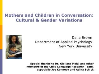 Mothers and Children in Conversation:  Cultural  Gender Variations