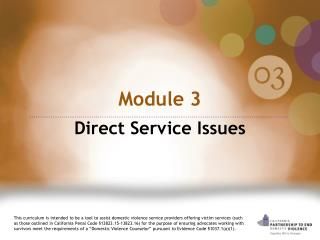 Module 3  Direct Service Issues
