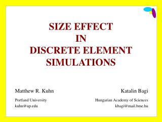 SIZE  EFFECT  IN  DISCRETE ELEMENT SIMULATIONS