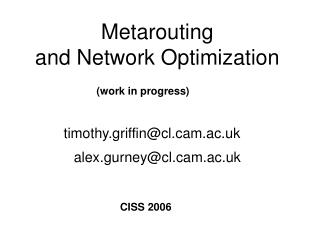 Metarouting  and Network Optimization