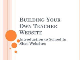 Building Your Own Teacher Website