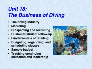 Unit 18: The Business of Diving