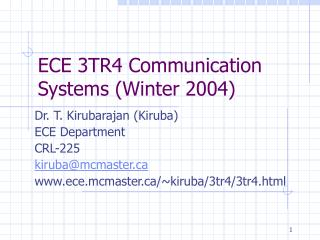 ECE 3TR4 Communication Systems (Winter 2004)
