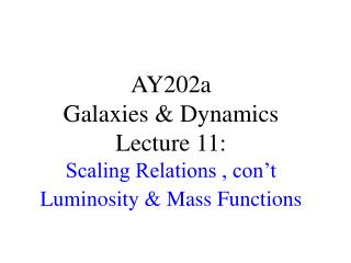 AY202a   Galaxies & Dynamics Lecture 11:  Scaling Relations , con't Luminosity & Mass Functions
