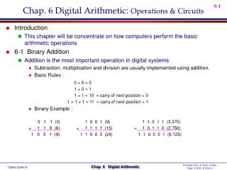 Chap. 6 Digital Arithmetic:  Operations & Circuits
