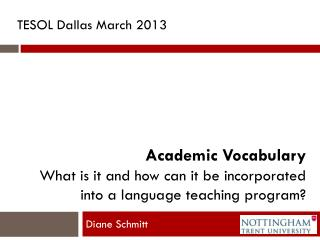Academic Vocabulary What is it and how can it be incorporated  into a language teaching program?
