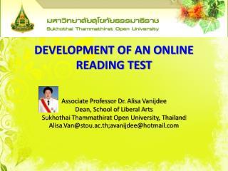 DEVELOPMENT OF AN ONLINE READING TEST